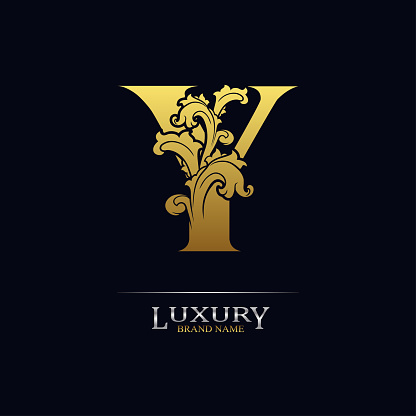 Golden initial letter Y with floral leaves. Luxury Natural Logo Icon. Elegant botanic design. Modern alphabet with branch ornament for monogram, emblem, initial, label, brand, business, greeting card