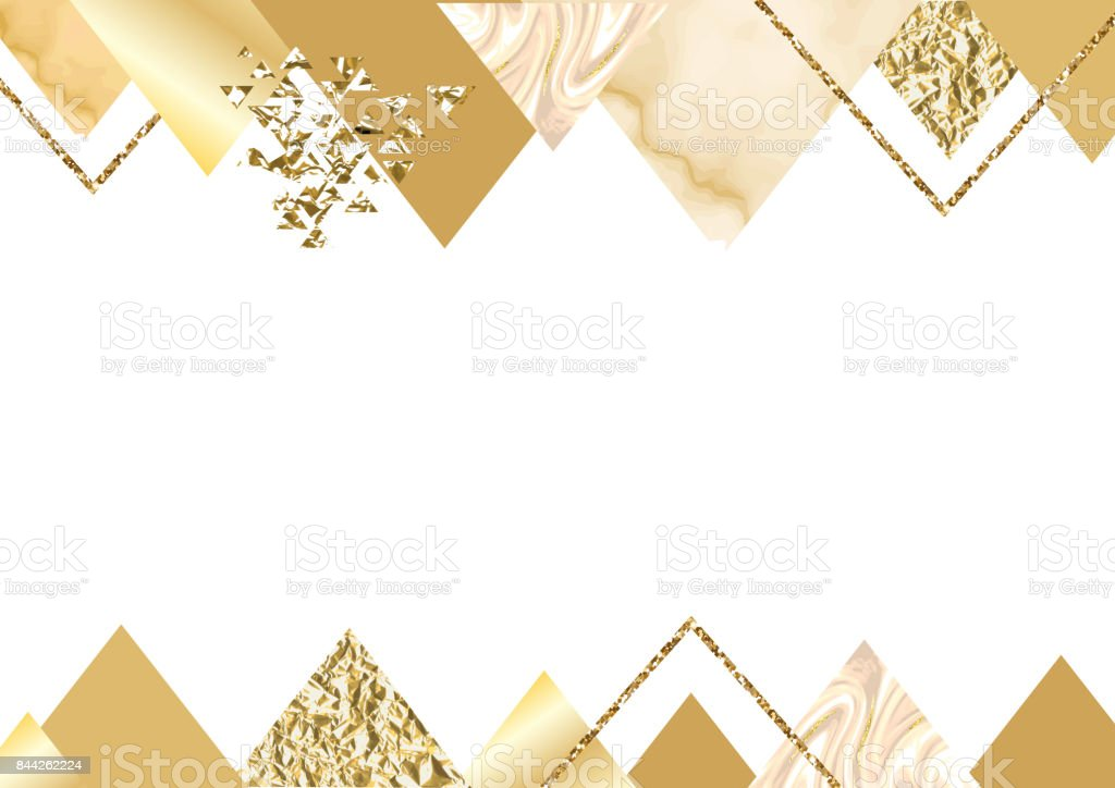 Golden Invitation Or Brochure Banner Marble Background In