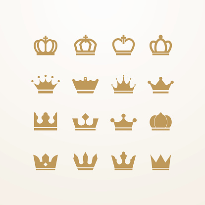 Golden isolated crown icons