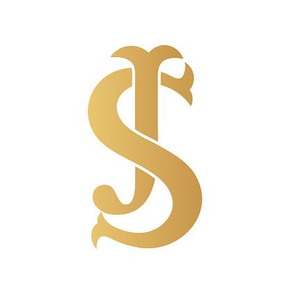 Golden JS monogram.