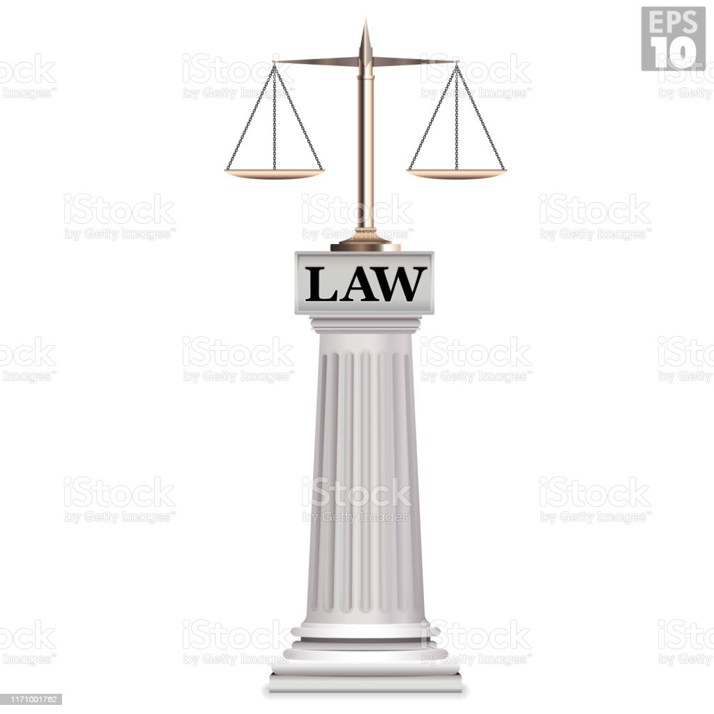 https www istockphoto com vector a golden justice scale in balance resting on a roman column with the words law gm1171001762 324256240