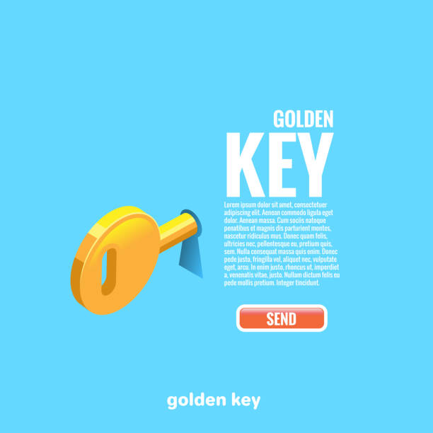 Golden Key The golden key sticks out in the keyhole and the text with the button, isometric image unlocking stock illustrations