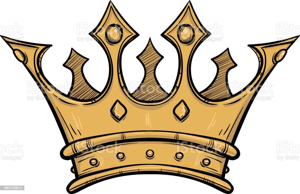 Altın Kral Taç El Vektör Hisse Senedi Resimde çekilmiş Siyah Ve