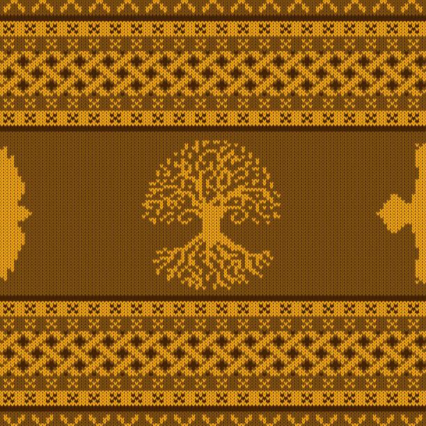 Oro punto ornamento nacional céltico inconsútil con el árbol del mundo y raven - ilustración de arte vectorial