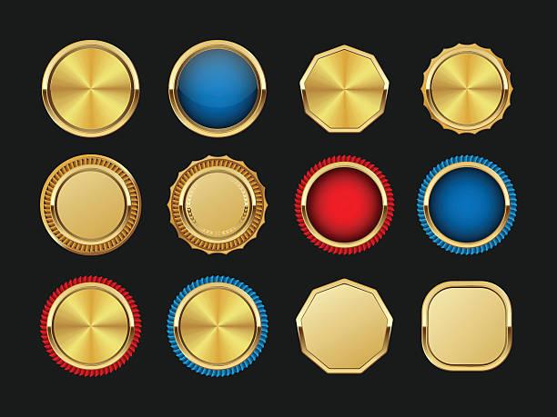 ilustrações, clipart, desenhos animados e ícones de golden rótulos collection.vector - tag