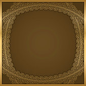 golden lace frame with shadow on a brown background