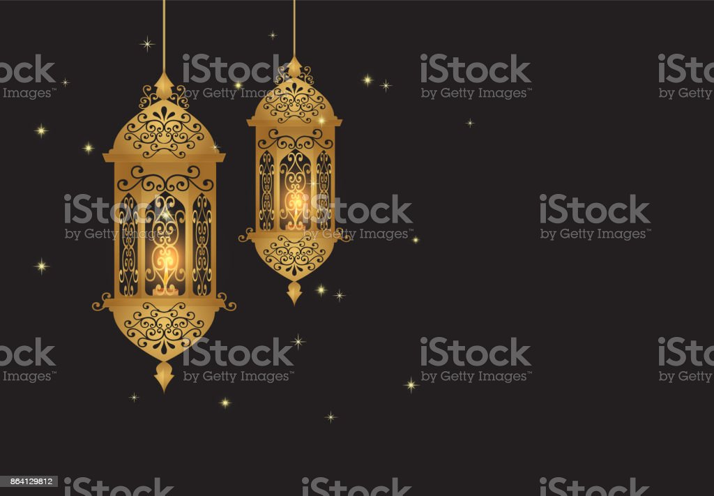 Golden Lantern with pattern design decoration Arabic style royalty-free golden lantern with pattern design decoration arabic style stock vector art & more images of arabia