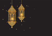Golden Lantern with pattern design decoration Arabic style