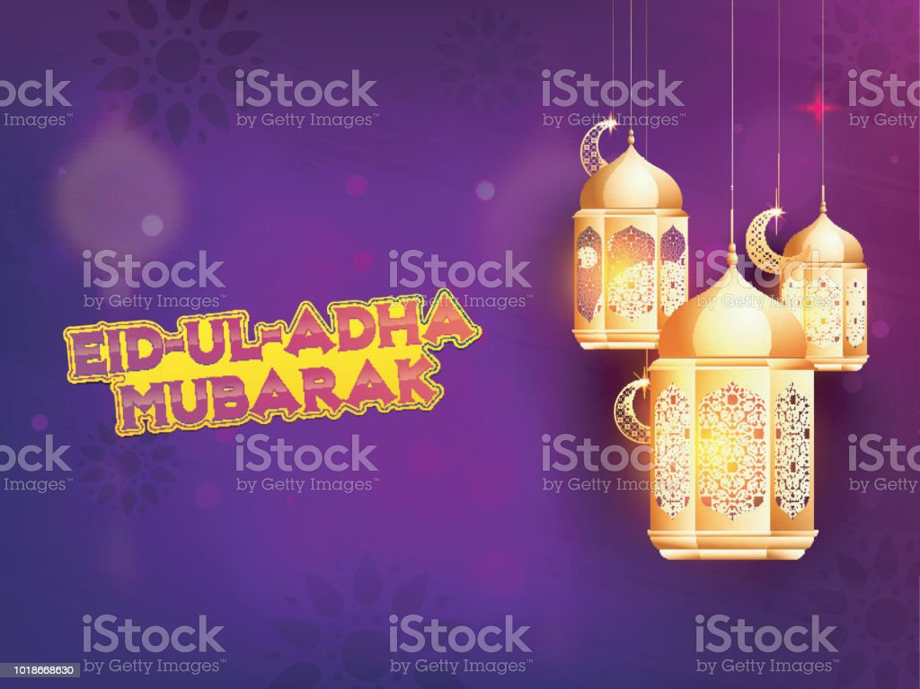 Golden lanterns, and moon shape ornaments on purple background. Islamic festival of sacrifice Eid-Ul-Adha Mubarak background. vector art illustration