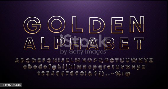 Golden Latin alphabet isolated on purple background. Hollow letters and figures template for sign board creation. Font design. Vector illustration.