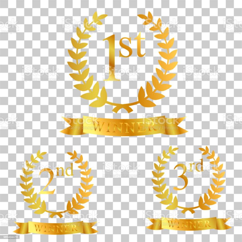 lauriers d'or, ruban, premier, deuxième et troisième gagnant au fond de l'effet de transparence - clipart vectoriel de Anniversaire d'un évènement libre de droits