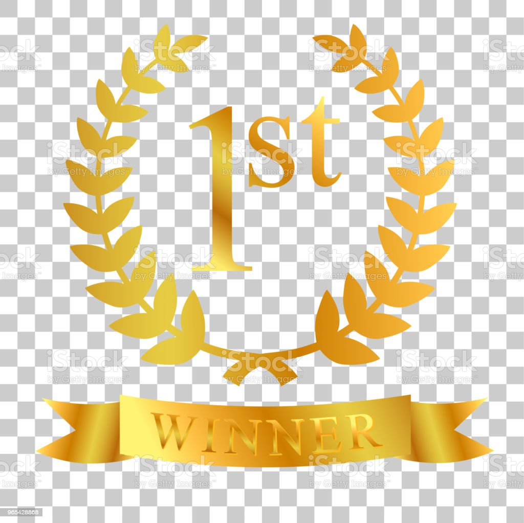 황금 월계관, 리본, 투명 효과 배경에서 첫 우승자 - 로열티 프리 경쟁 벡터 아트