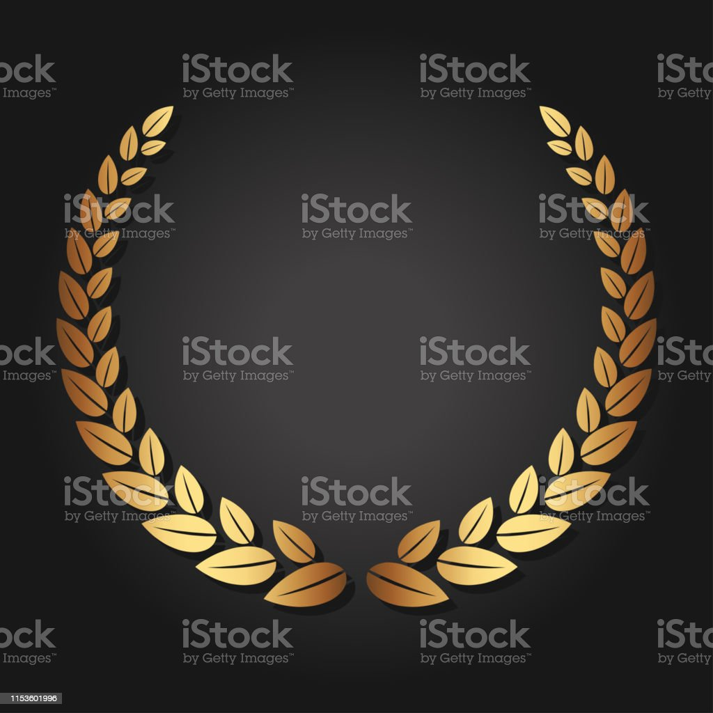 Golden laurel wreath. Luxury reward for VIP person. The award...