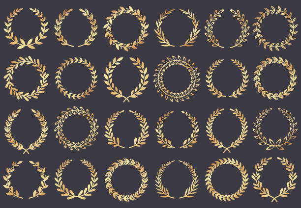 golden laurel wreath. movie festival awards, winner actress awarded, cannes film leaf symbol vector illustration - laurel leaf stock illustrations, clip art, cartoons, & icons