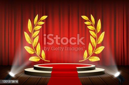 Golden laurel wreath on the podium. Awarding the winner. Vector illustration