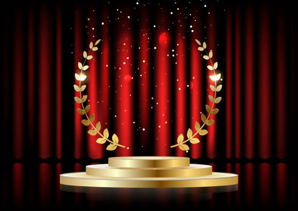 Golden laurel wreath over red round podium with steps in front of the curtains. Vector illustration Golden laurel wreath over red round podium with steps in front of the curtains. Vector illustration awards ceremony stock illustrations