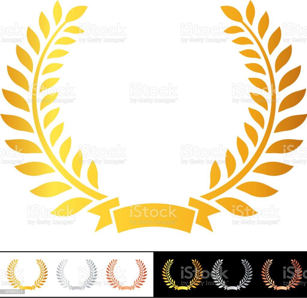 golden laurel wreath royalty-free stock vector art