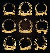 Golden laurel wreath with golden ribbon vector collection