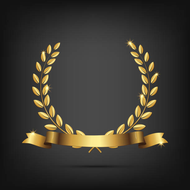 ilustrações, clipart, desenhos animados e ícones de coroa de louros dourada com fita isolada em fundo escuro. elemento de desenho vetorial. - molduras de certificados e premiações