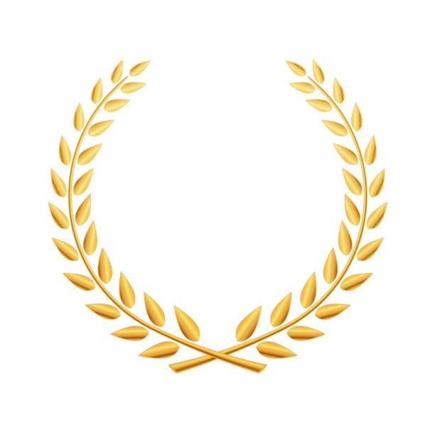 Golden laurel wreath with ribbon isolated on white background. Vector design element Golden laurel wreath with ribbon isolated on white background. Vector design element bay leaf stock illustrations