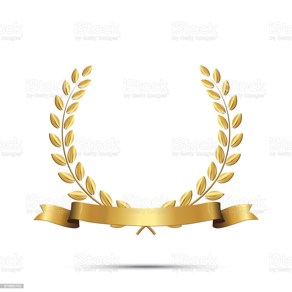 Golden laurel wreath with ribbon isolated on white background. Vector design element. vector art illustration