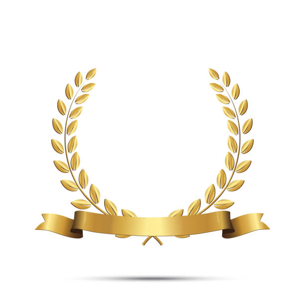 golden laurel wreath with ribbon isolated on white background. vector design element. - zwyciężać stock illustrations