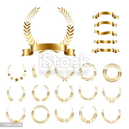 Golden laurel wreaths and ribbons set on white background. Set of foliate award wreath for championship or cinema festival. Vector illustration