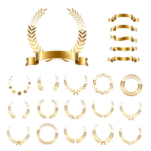 Golden laurel wreaths and ribbons set on white background. Set of foliate award wreath for championship or cinema festival. Vector illustration. Golden laurel wreaths and ribbons set on white background. Set of foliate award wreath for championship or cinema festival. Vector illustration win stock illustrations