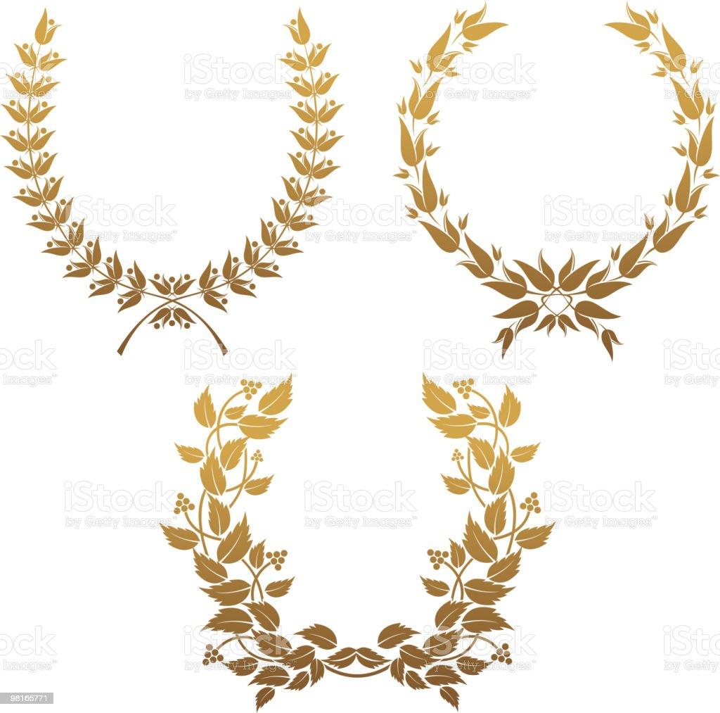 Golden laurel wreaths golden laurel wreaths - immagini vettoriali stock e altre immagini di albero di alloro royalty-free