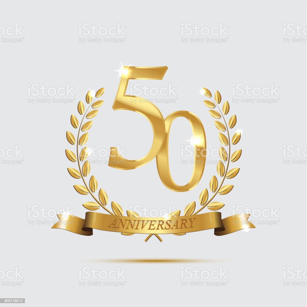 Golden laurel wreaths with ribbons and fifty anniversary year symbol on dark background. 50 anniversary golden symbol. Vector anniversary design element. vector art illustration