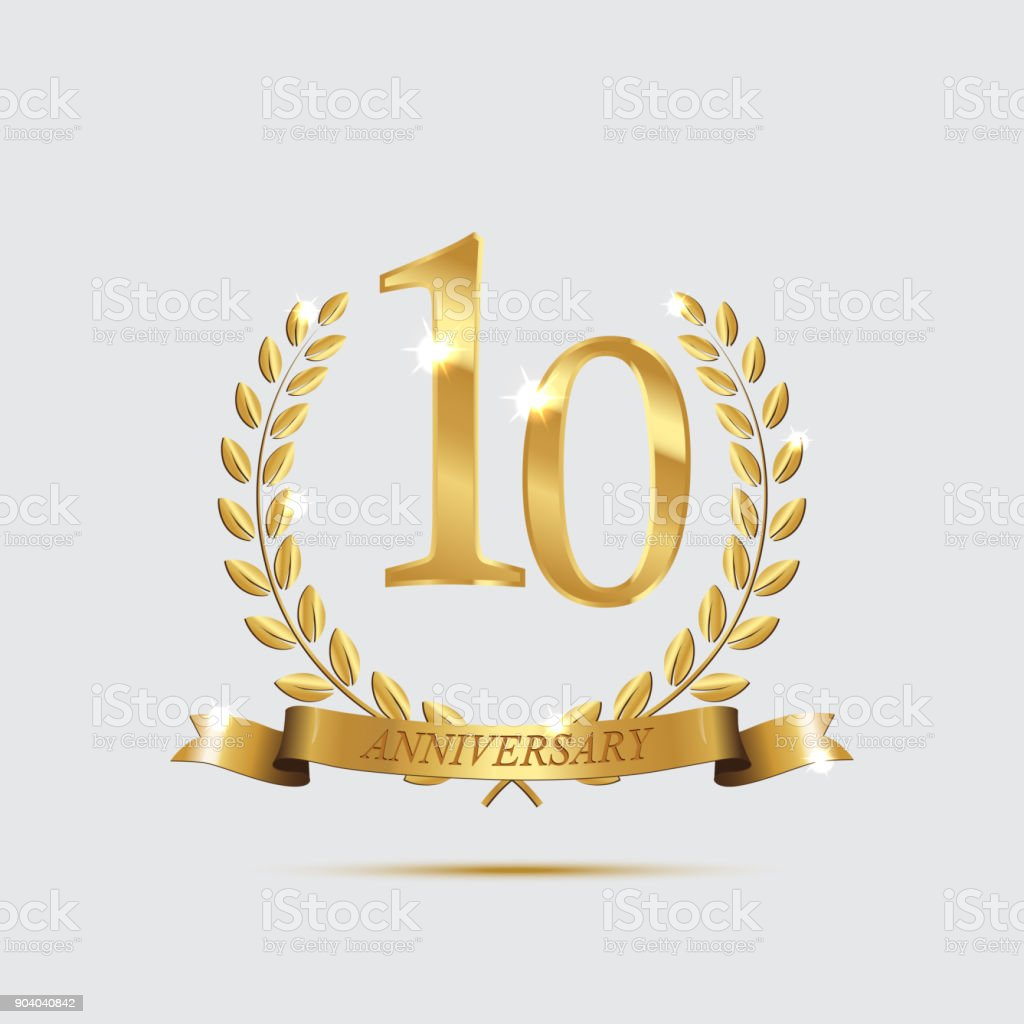 Golden laurel wreaths with ribbons and tenth anniversary year symbol on light background. 10 anniversary golden symbol. Vector anniversary design element. vector art illustration