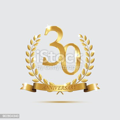 Golden Laurel Wreaths With Ribbons And Thirty Anniversary Year