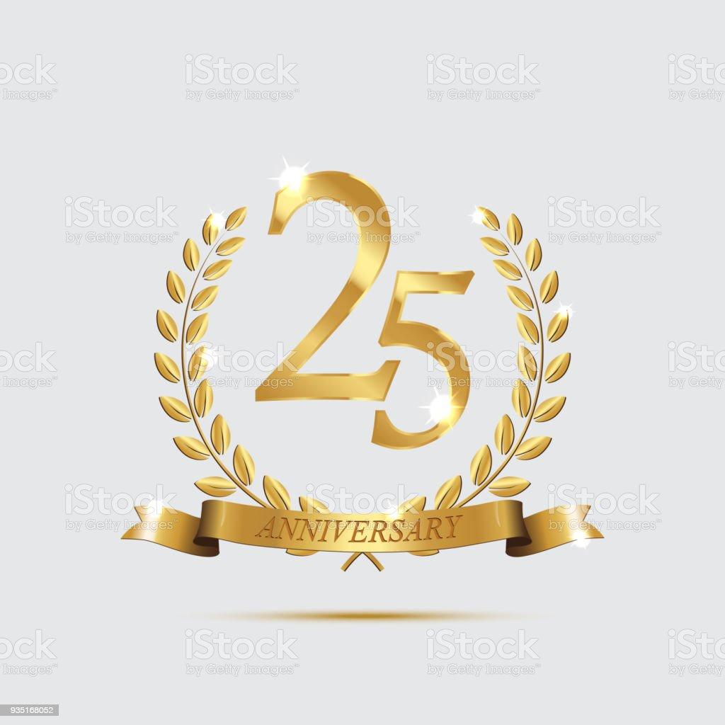 Goldene Lorbeerkränze mit Bändern und fünfundzwanzigsten Jahrestag Jahr Symbol auf hellem Hintergrund. 25 Jubiläum goldene Symbol. Vektor-Jubiläums-Design-Element. – Vektorgrafik