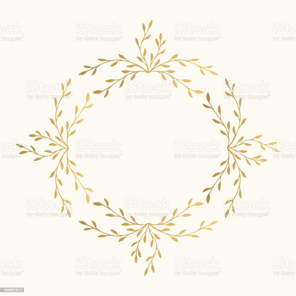 Golden Leaf Vector Frame Fancy Wreath Stock Vector Art & More Images ...