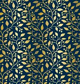 Seamless pattern with golden twig (leaves and berries) on a dark blue background. The style is romantic and classic. The file uses global colors (CMYK).