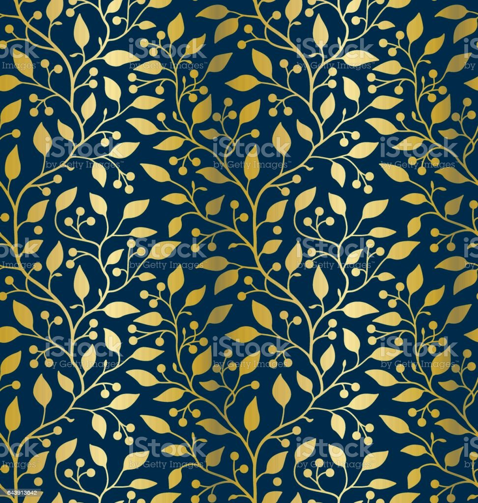 Golden leaves and berries (Seamless pattern) vector art illustration