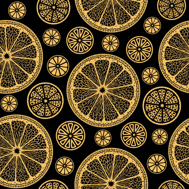 Golden lemon slices on black - seamless vector wallpaper vector art illustration