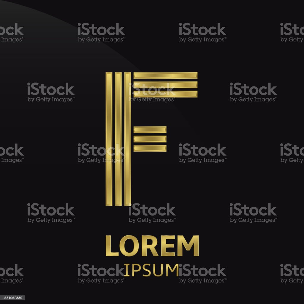 Golden letter symbol vector art illustration