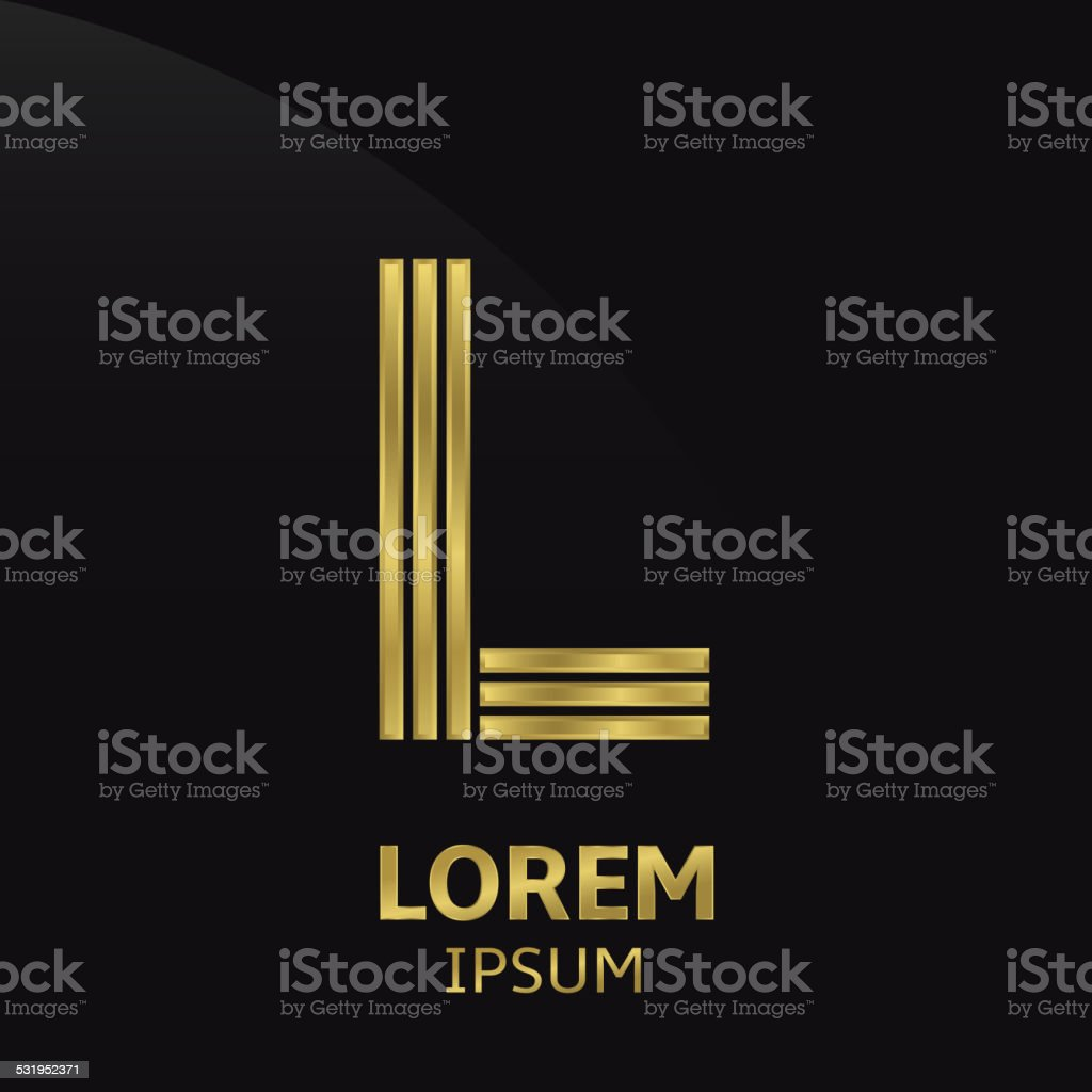 Golden letter symbol vector art illustration