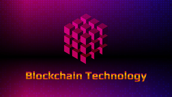 Golden lettering Blockchain technology with digital cube on beautiful purple background. Futuristic template for digital technologies. Design element. Layout for banner or website. EPS10 vector.