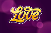 Golden letters LOVE on a dark-lilac background. Modern Calligraphy for Valentine's Day. Editable vector illustration.