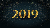 2019 Golden letters new year party text