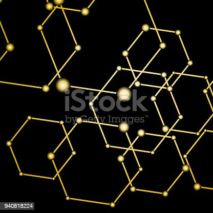 istock Golden light connected dots abstract background 940818224