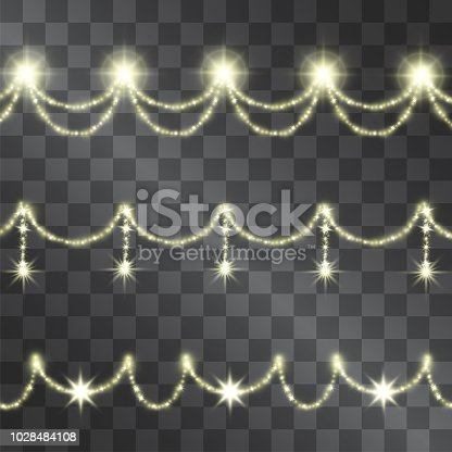 Golden light effect decorative curvy hanging festoon made with shining sparkling warm light stars for celebration banners, posters, invitations, illustrations, for modern design ideas.