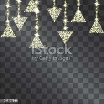 Golden light effect decorative triangle hanging garland made with shining sparkling warm light stars for celebration banners, posters, invitations, illustrations, for modern design ideas.