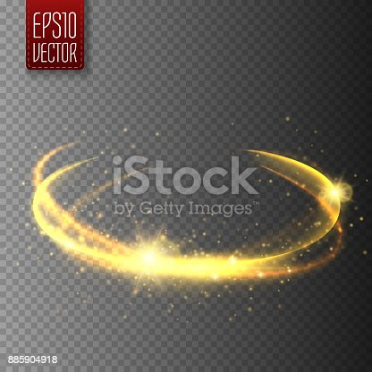 Golden light effect. magic circle glow. Vector illustration