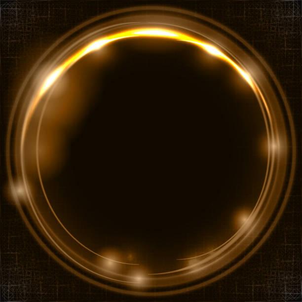 illustrations, cliparts, dessins animés et icônes de effets de lumière dorées sur le cycle d'espace réservé pour votre texte sur fond marron foncé - abstract mirror