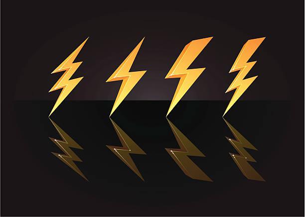 3D golden lightning bolts vector art illustration