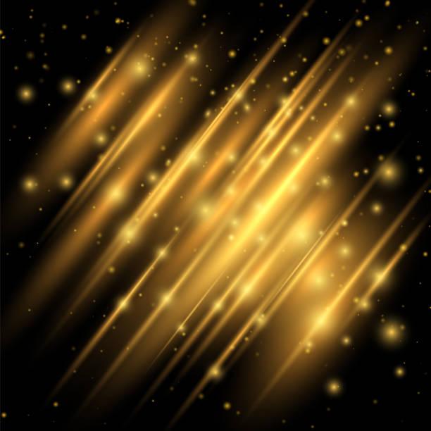 黄金色のライト効果。フレアの抽象的なイメージ。この照明を強化、デザイン作業に見える現代。モーション高級デザインを輝いています。黒の背景のベクトル図 - 光 黒背景点のイラスト素材/クリップアート素材/マンガ素材/アイコン素材