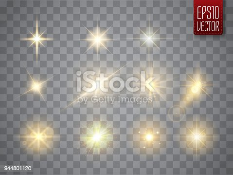 Golden lights sparkles collection. Glowing lens flares, flashes and sparks. Vector illustration